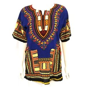 VINTAGE DASHIKI cotton unisex African tribal top